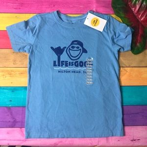 NWT Life is Good shirt blue youth size Medium 7/8